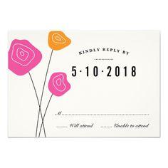 Modern Pink Orange Flowers White Wedding RSVP Card Invitations