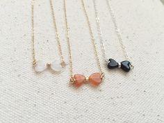 Gemstone Bowtie Necklace - Small Gemstone - Gemstone Necklace - Minimal Gemstone - Layering Gemstones - Heart Necklace - Minimal Necklace by primlark on Etsy https://www.etsy.com/listing/251344672/gemstone-bowtie-necklace-small-gemstone