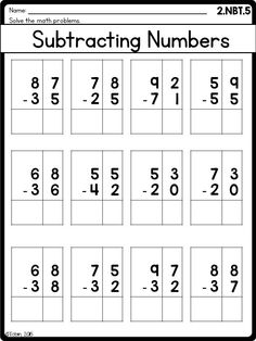 Grade Math Printables Worksheets- Numbers and Operatio Math Addition Worksheets, Subtraction Worksheets, Kindergarten Math Worksheets, Maths, Math Tutor, Teaching Numbers, Teaching Math, Math Sheets, Basic Math