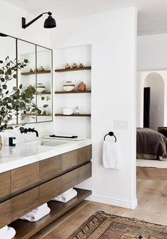 Cozy Home Interior Power Couple Katherine Power & Justin Coit Are Selling Their Chic L. Home.Cozy Home Interior Power Couple Katherine Power & Justin Coit Are Selling Their Chic L. Home Modern Bathroom Design, Bathroom Interior Design, Decor Interior Design, Bathroom Designs, Modern Bathroom Cabinets, Bathtub Designs, Modern Bathtub, Bath Cabinets, Modern Vanity