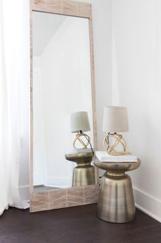 Martini Side Table + Etched Chevron Floor Mirror + Mini Geodesic Table Lamp from west elm