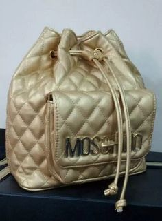 Moschino Bucket Bag Women Drawstring Backpack Gold - moschinooutlet2015.com