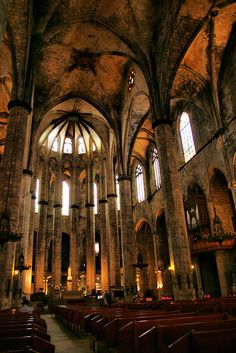 Barcelona (Santa Maria del Mar Church) -- Photography The city, not the planet. Places Around The World, The Places Youll Go, Cool Places To Visit, Around The Worlds, Cathedral Church, Architectural Photography, Spain And Portugal, Spain Travel, Santa Maria