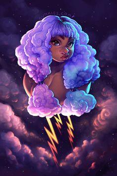 Art by Gunkiss (Camila Fortuna) Black Love Art, Black Girl Art, Pretty Art, Cute Art, Arte Black, Black Art Pictures, Goddess Art, Digital Art Girl, Afro Art
