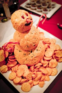tacky snowman cheeseball (with chopped pepperoni) is perfect for your Whobilation Christmas party.