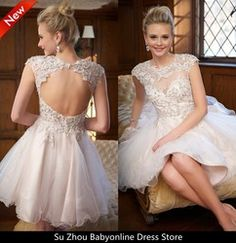 Online Shop Sparkly Custom Made Cap Sleeves Appliqued and Beaded Lace Homecoming Graduation Dresses With Open Back Short Prom Gown|Aliexpress Mobile