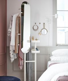 With IKEA LIERSKOGEN valet stand you can keep everything you need to get dressed quickly the next morning. Bed Frame With Storage, Under Bed Storage, Ikea Interior, Interior Design, Day Bed Frame, Under Bed Drawers, Ikea Mirror, Design Your Bedroom, Cute Home Decor