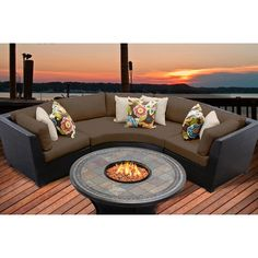 TK Classics Barbados 4 Piece Fire Pit Seating Group with Cushion & Reviews | Wayfair