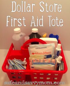 Dollar Store First Aid Tote