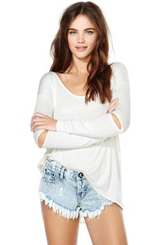 Nasty Gal Slashed Tee - Ivory | Shop Tops at Nasty Gal