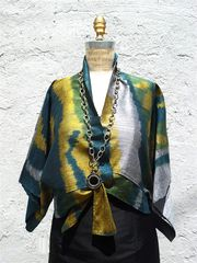 Kimono Style Short Jacket Silk Ikat Blue Green from IMPERIO jp