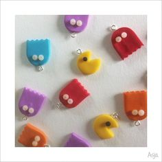 Polymer clay pacman charms