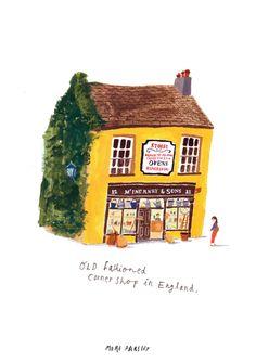 Corner shop in Ireland, illustration by moreparsley MOREPARSLEY.COM