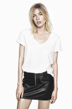IT ENDS COTTON SHIRT IN JET STREAM WHITE AND LORD KNOWS LAMB LEATHER MINISKIRT IN ANTHRACITE BLACK http://fallwinterspringsummer.com