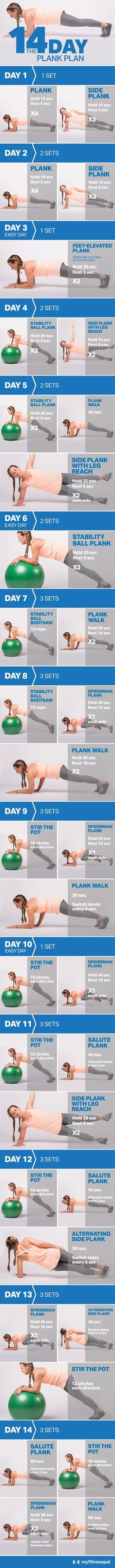 14 Day Plank Challenge You already know the plank is a great core exercise. So we're adding plank variations to amp up your training, target your midsection from different ...14 Day Plank Challenge You already know the plank is a great core exercise. So we're adding plank variations to amp up your training, target your midsection from different ...