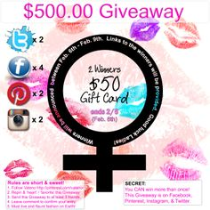 $500.00 Late January / Early February 2014. Rules: 1. Follow Vateno  2. Repin & Heart this Giveaway  3. Send to at least 3 friends  4. Leave comment to confirm entry.