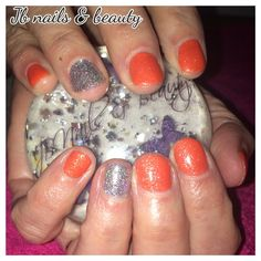 Sparkly orange & silver gel polish on natural nails