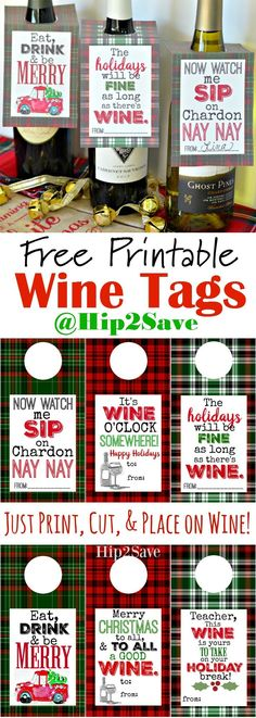 Free Printable Holiday Wine Tags (Easy Gift Idea). These will add to the festive mood in your home this season! From @hip2save