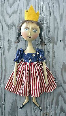 Primitive Folk Art Pattern Miss Americana A patriotic doll    Awesome WOW !!