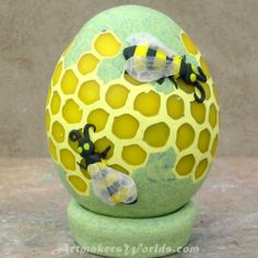 Honey Comb bee polymer clay egg
