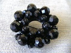 lovely faceted black jet glass mourning by varietyvtgclothing, $34.00