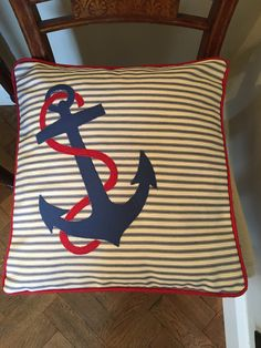 Excited to share the latest addition to my #etsy shop: nautical appliqué cushion, anchor cushion, beach living, throw pillow, nautical pillow cover, nautical anchor decor, decorative pillow, gift Nautical Cushions, Nautical Pillow Covers, Nautical Anchor, Nautical Theme, Anchor Pillow, Applique Cushions, Ticking Fabric, Blanket Stitch, Soft Furnishings