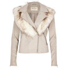 River Island Stone faux fur collar biker jacket (£65) ❤ liked on Polyvore featuring outerwear, jackets, cream, tall biker jacket, biker jacket, faux fur collar jacket, moto biker jacket and river island jacket