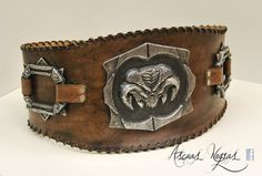 Barbarian Belt Leather. LARP. Diablo style. Conan barbarian armor. Leather armor. Orc belt. Tribal style. Wizards armor.  STANDARD SHIPPING COSTS: *