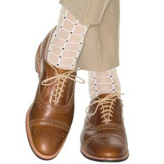 Dapper Classics Tan with White Grid Sock Linked Toe Dapper Gentleman, Patterned Socks, Happy Socks, Sock Shoes, Cashmere, Oxford Shoes, Dress Shoes, Lace Up, Mens Fashion
