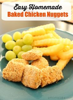 Create a well balanced meal with these Easy Homemade Baked Chicken Nuggets. Made with just 3 ingredients, you'll love these nuggets as much as your kids! Delicious Dinner Recipes, Great Recipes, Yummy Food, Recipe Ideas, Favorite Recipes, Baked Chicken Nuggets, Homemade Snickers, Easy No Bake Desserts, Kid Friendly Meals