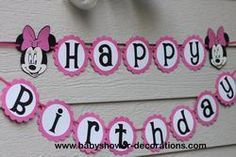 Minnie Mouse Hot Pink or Red Polka Dot Happy Birthday Party Banner . Girls 3rd Birthday, Happy Birthday Parties, Birthday Party Themes, Birthday Ideas, Mickey Party, Minnie Mouse Party, Mouse Parties, Mickey Mouse, Babyshower