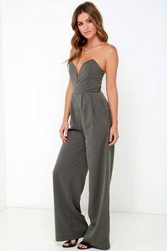 Chic Dark Grey Jumpsuit - Strapless Jumpsuit - Sweetheart Jumpsuit - $64.00