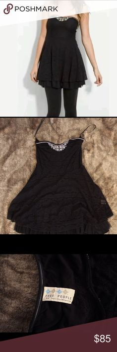 Free People beaded lace dress. Free People strapless , scalloped , beaded lace dress. Free People Dresses Strapless
