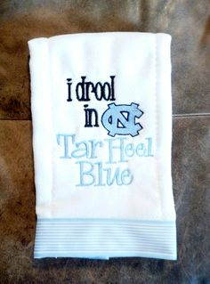North Carolina Tar Heels UNC Baby Burp Cloth by CraftyInCarolina, $12.00