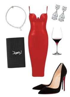 """""""Untitled #41"""" by lluviagb on Polyvore featuring Christian Louboutin, Yves Saint Laurent and Riedel"""