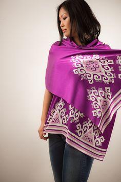Purple Silk Shawl or Silk Scarf Hand painted by BorneoBatikraft, $115.00