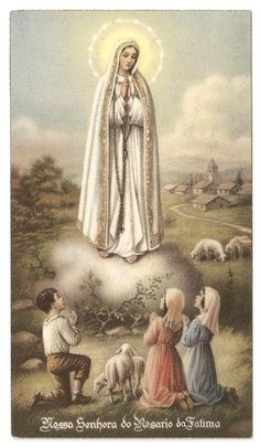 Our Lady of Fatima with Children Vintage French Catholic Holy