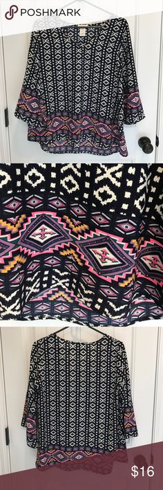 Tribal Top Beautiful Navy Top with a splash of color on trim. Tops Blouses