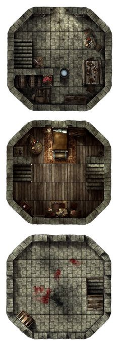 Guard tower, a printable battle map for Dungeons and Dragons / D&D, Pathfinder and other tabletop RPGs. Tags: tower, guard tower, watch tower, encounter, fortified, stairs, room, floors, chest, tile set, walls, print