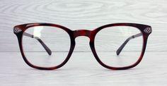 Squared geek wayfarer style Brown Red Tortoise eyeglasses frame by Antiqueelse