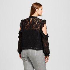 Women's Plus Size Lace Cold Shoulder Blouse - Who What Wear Black 2X