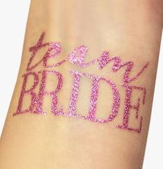 Our glittered pink 'Team Bride' temporary tattoos are perfect for any…
