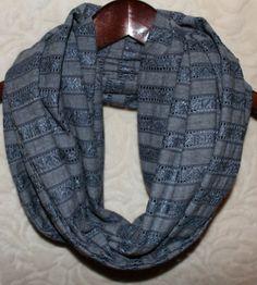 Stone Blue & Gray Lace Jacquard Striped Jersey Knit Infinity Scarf on Etsy, $13.00