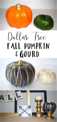 Looking for cheap and easy fall decorations? Make an easy Dollar Store pumpkin and gourd that will look great for Thanksgiving and fall.