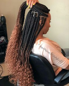 Goddess braids with human hair at the end. Black Girl Braids, Braids For Black Hair, Girls Braids, Braids For Black Women Box, Braided Hairstyles For Black Women, African Braids Hairstyles, Girl Hairstyles, Braid Hairstyles, African Braids Styles