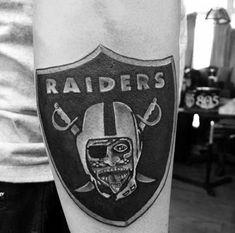 40 Oakland Raiders Tattoos For Men - Football Ink Design Ideas Raiders Fans, Oakland Raiders, Outer Forearm Tattoo, Forearm Tattoos, Raiders Tattoos, The Underdogs, Raider Nation, Men's Football, Tattoos For Guys