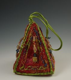 Deb Allen Frippery - Copper Girl purse - hand felted wool, embroidery