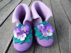 Купить Валеночки домашние лиловые - сиреневый, уютный подарок, валенки ручной валки, домашние валенки