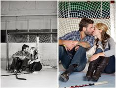 Hockey player girlfriend engagement picture *since he's a GOALIE* <3
