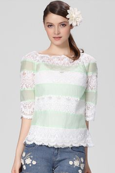 ROMWE | Fine Stripe Lace White-green Blouse, The Latest Street Fashion #ROMWEROCOCO